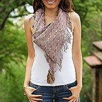 Cotton scarf, 'Old Lilac' - Handwoven Cotton Scarf in Sepia and Lilac from Mexico