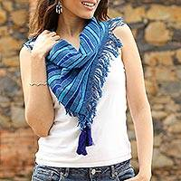 Cotton scarf, 'Between Ocean Waves' - Striped Cotton Scarf in Cerulean and Royal Blue from Mexico