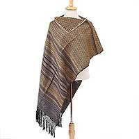 Cotton poncho, 'Sandstorm' - Yellow and Black Geometric Cotton Poncho from Mexico