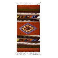 Wool area rug, 'Pre-Hispanic Era' (2.5x5) - Geometric Wool Are Rug from Mexico (2.5x5)