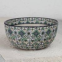 Ceramic serving bowl, 'Green Valley' - Hand-Painted Ceramic Serving Bowl in Green from Mexico