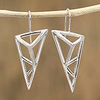 Sterling silver drop earrings, 'Complex Geometry' - Triangular Sterling Silver Drop Earrings from Mexico