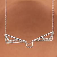 Sterling silver pendant necklace, 'Complex Geometry' - Triangular Sterling Silver Pendant Necklace from Mexico