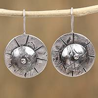 Sterling silver drop earrings, 'Mexican Jhamka' - Jhamka-Shaped Sterling Silver Drop Earrings from Mexico