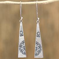 Sterling silver dangle earrings, 'Complimentary Triangles' - Triangular Sterling Silver Dangle Earrings from Mexico