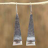 Sterling silver drop earrings, 'Whisper of the Sea' - Modern Sterling Silver Drop Earrings from Mexico