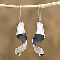 Sterling silver drop earrings, 'Dark Spirals' - Modern Sterling Silver Spiral Drop Earrings from Mexico