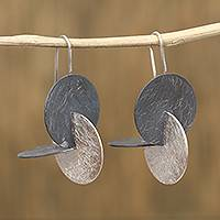 Sterling silver drop earrings, 'Dimension Ripples' - Modern Circular Sterling Silver Drop Earrings from Mexico