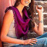 Cotton scarf, 'Mulberry Stripes' - Handwoven Square Cotton Scarf in Mulberry from Mexico