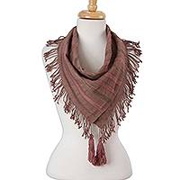 Cotton scarf, 'Sweet Sophistication' - Orchid and Dusty Lilac Cotton Wrap Scarf from Mexico