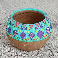 Ceramic flower pot, 'Bright Shelter' - Hand-Painted Ceramic Flower Pot from Mexico
