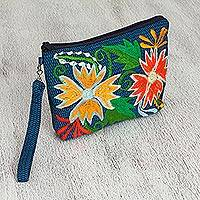 Cotton cosmetic bag, 'Honolulu Flowers' - Floral Embroidered Cotton Cosmetic Bag from Mexico