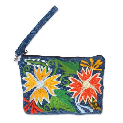 Floral Embroidered Cotton Cosmetic Bag from Mexico