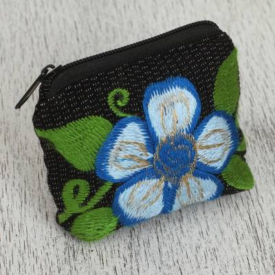 Cotton coin purse, 'Exalted Flower' - Floral Embroidered Cotton Coin Purse from Mexico