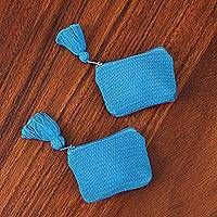 Cotton coin purses, 'Blue Cuties' (pair) - Blue Cotton Coin Purses in Blue from Mexico (Pair)