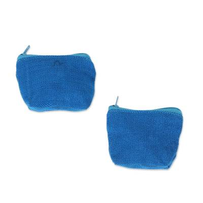 Blue Cotton Coin Purses in Blue from Mexico (Pair)