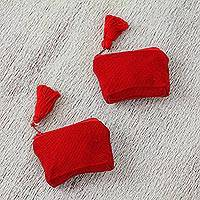 Cotton mini coin purses, 'Red Beauties' (pair) - Blue Cotton Coin Purses in Red from Mexico (Pair)