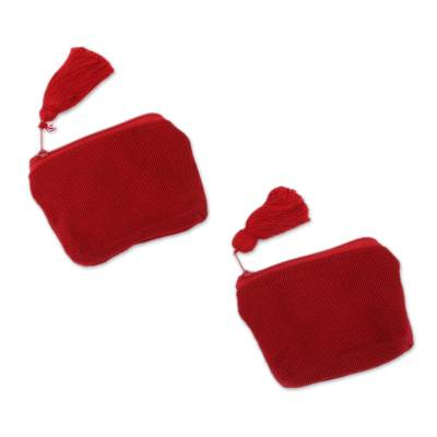 Blue Cotton Coin Purses in Red from Mexico (Pair)