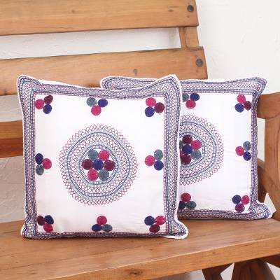 Cotton cushion covers, 'Colorful Rounds' (pair) - Snow White Hand Embroidered Cotton Cushion Covers (Pair)