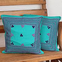 Cotton cushion covers, 'Chic Sampler' (pair) - Caribbean Blue Hand Embroidered Cotton Cushion Covers (Pair)