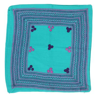 Caribbean Blue Hand Embroidered Cotton Cushion Covers (Pair)