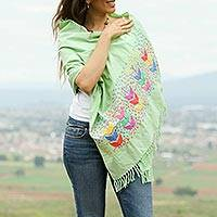Cotton shawl, 'Maize in Green' - Green Hand Embroidered Multicolor Maize Motif Cotton Shawl