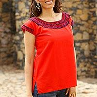 Cotton blouse, 'Country Air in Red and Purple' - Red Hand Embroidered Cotton Cap Sleeve Blouse from Mexico
