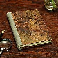 Recycled paper journal, 'Desert Cracks' - Recycled Paper Journal with Brown Motifs from Mexico