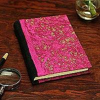 Recycled paper journal, 'Fuchsia Delicacy' - Recycled Paper Journal with Fuchsia Motifs from Mexico
