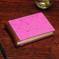 Recycled paper journal, 'Fuchsia Bougainvillea' - Recycled Paper Journal in Fuchsia from Mexico