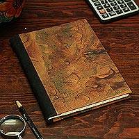 Recycled paper journal, 'Autumn Hues' - Recycled Paper Journal with Autumn Hues from Mexico