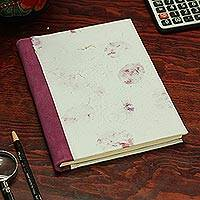 Recycled paper journal, 'Rosy Rain' - Recycled Paper Journal in White from Mexico