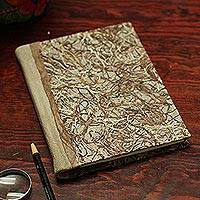 Recycled paper journal, 'Forest Nest' - Recycled Paper Journal in Brown and Beige from Mexico