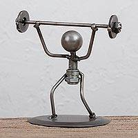 Upcycled metal auto part sculpture, 'Lifting Weights' - Upcycled Metal Auto Part Weightlifter Sculpture from Mexico