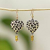 Amber dangle earrings, 'Heart of the Jaguar' - Amber Dangle Earrings With Jaguar Motif Hearts from Mexico