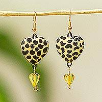 Amber dangle earrings, 'Jaguar Love' - Heart-Shaped Amber and Ceramic Dangle Earrings from Mexico