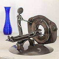 Upcycled metal auto part sculpture, 'Day at the Doctor' - Upcycled Metal Auto Part Sculpture from Mexico