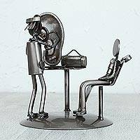 Upcycled metal auto part sculpture, 'Doctor's Office'