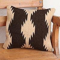 Wool cushion cover, 'Double Fret Waves in Brown' - Buff and Dark Brown Fret Motif Handwoven Wool Cushion Cover
