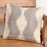 Wool cushion cover, 'Double Fret Waves in Grey' - Ivory and Grey Fret Motif Handwoven Wool Cushion Cover