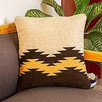Wool cushion cover, 'Fret Waves in Brown' - Ivory and Brown Fret Motif Handwoven Wool Cushion Cover