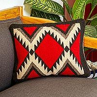 Wool cushion cover, 'Fret Framed Diamonds' - Dark Red Diamond Motif Handwoven Wool Cushion Cover