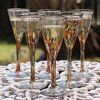 Champagne flutes, 'Confetti' (set of 6) - Mexican Handblown Glass Cocktail Champagne Flutes Set of 6