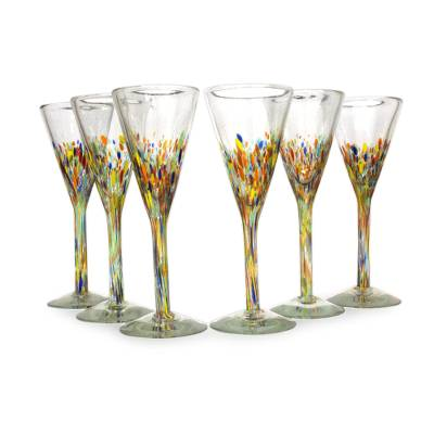 Mexican handblown glass cocktail champagne flutes set of 6 confetti novica - Hand blown champagne flutes ...