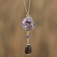 Gold plated quartz pendant necklace, 'Glittering Mystique' - Gold Plated Necklace with Quartz and Crystal