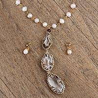 Gold plated multi-gemstone jewelry set, 'Unique Wonder' - Gold Plated Pearl and Agate Necklace and Earring Set