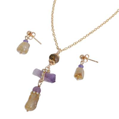 Gold Plated Quartz and Agate Jewelry Set from Mexico