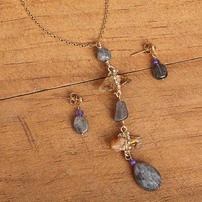 Gold plated multi-gemstone jewelry set, 'Cloudy Elegance' - Gold Plated Quartz and Labradorite Jewelry Set from Mexico