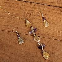 Gold plated multi-gemstone jewelry set, 'Exotic Wonder' - Gold Plated Quartz Necklace and Earring Set from Mexico
