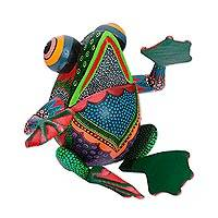 Wood alebrije sculpture, 'Bright Frog' - Handcrafted Copal Wood Alebrije Frog Sculpture from Mexico
